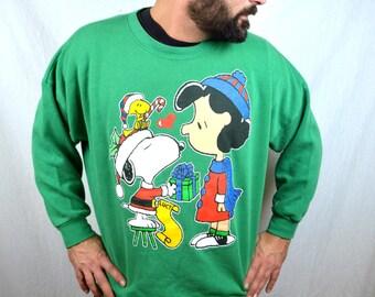 Vintage 80s Snoopy Cool Yule XMAS Christmas Sweater Sweatshirt