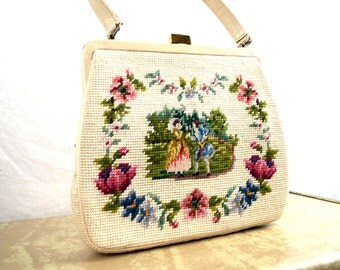 Vintage 1960s Victorian Scene Floral Cross Stitch Cross-Stitch Handbag Purse