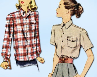 1940s Vintage McCall Sewing Pattern 6709 Misses WWII Casual Shirt Size 14 32B