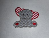 Free Shipping   Ready to Ship Valentine Elephant Fabric   Iron on applique