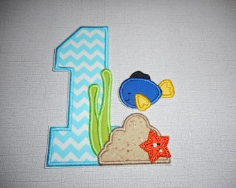 Free Shipping Ready to Ship Number 1   Under The Sea Machine Embroidery iron on applique