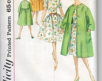 Uncut, Misses Size 12, Vintage 1950s Sewing Pattern, Simplicity 4300, Woman Coat, Dress, Double Breasted, Tie Belt, Mad Men, Full Loose Fit