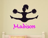 Cheerleader Wall Decal Girls Bedroom Personalized Room Decor Team Cheer Decal Teen Room Child Kid Name Sports Wall Words Mural Squad Vinyl