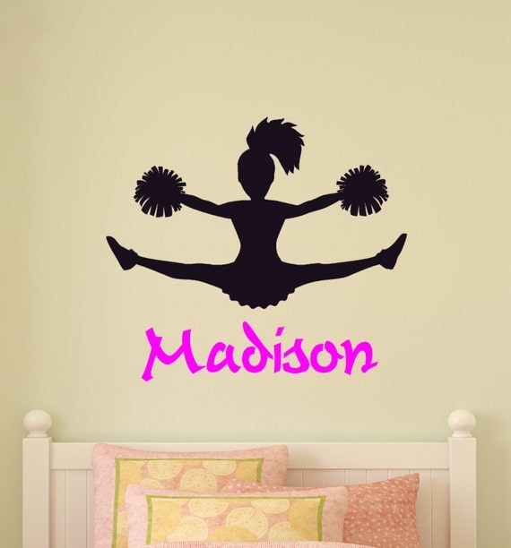 cheerleader wall decal girls bedroom personalized room decor