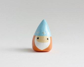 Miniature Gnome Figurine - mini fairy garden gnome, cute childrens room decor, clay lawn gnome, seven dwarves, coffee table decor