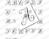 Vintage French Initials, Digital scan for 1 inch Scrabble Tile Pendants, Collage Sheet, Romantic Alphabet (047)