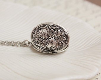 Silver Floral Locket Necklace