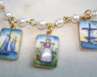 """3 Holland Enamel Pendant 1"""" x   .75""""  Pearl Gold Tone Necklace 18"""" x  .5""""  inches Strand"""