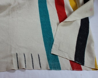 Wool Blanket 4 Point Trapper Stripes Trade Label VINTAGE by Plantdreaming