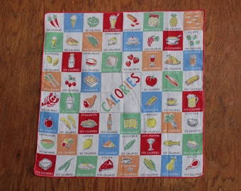Handkerchief CALORIES Linen Hand rolled edges  Mid Century VINTAGE by Plantdreaming