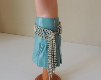 "1"" Wide Chevron Sparkly Rhinestone Adjustable Bracelet. Gorgeous Glitzy Glamorous Rhinestone Bracelet. Brilliant Rhinestone Anklet."