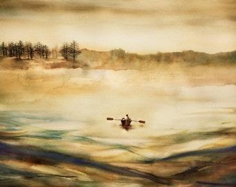 Watercolor painting, ART, My Maine On A Foggy Day, HORIZONTAL,original print, watercolor art, rowboat at sea,