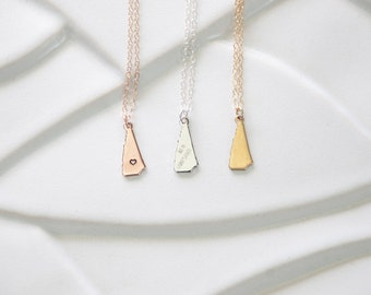 Tiny Gold New Hampshire Necklace Gold, Home State New Hampshire Silver, New Hampshire Pendant, Stamped Heart State Jewelry, State Bracelet