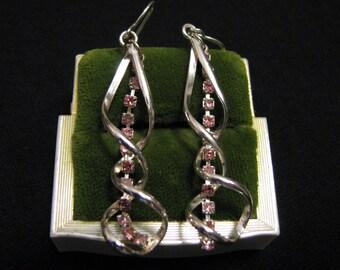 Vintage Silver Plated Pave Pink Sapphire Tourmaline Diamond Rhinestone Twisted Swirled Spiral Dangle Pierced Earrings