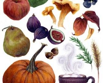 Fine Art Print of Original Watercolor Painting - Autumn Kitchen