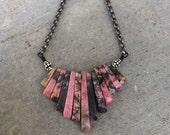 Rhodochrosite Bib Collar Necklace, Statement, Gemstone, Modern, Boho Bohemian, Handmade Jewelry, Pink, Silver Oxide, Gunmetal