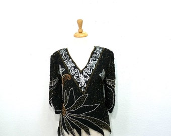 Vintage Black Sequin Beaded Silk Bouse Gold and Silver Trophy Top Glam Holiday Medium