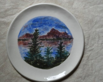 Ceramic, plate with handpainted, mountain lake, landscape, picture