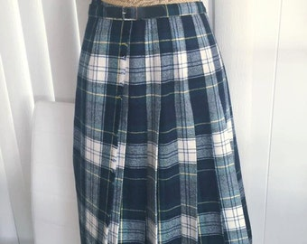 Sale Vintage  Black Watch Modern Dress Ladies Kilt -- Size M-L Retro Preppy