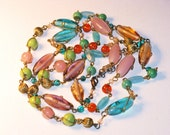 Vintage Long Multicolored Glass Bead Necklace (N-1-4)