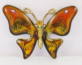 Vintage Emmons Gold and Brown Enamel Butterfly Brooch Pin (B-4-4)