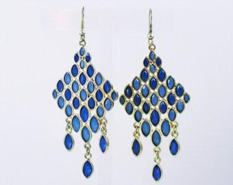 Vintage Gold Tone Long Blue Rhinestone Pierced Wire Earrings  (E-1-6)