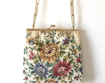 Floral Tapestry Vintage 1950s Purse Ivory Needlepoint Handbag Gold Chain