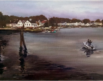 New England Original Oil Painting of Connecticut Bay - 24x12in
