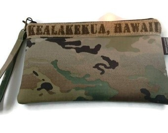 Gift for Him. Coffee Lover and Camo Pouch. Repurposed Coffee Bag. Kealakekua, Hawaii. Handmade in Hawaii.