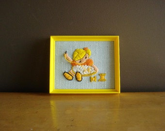 Yellow Framed Girl - Vintage Crewel Mini Art for Your Wall