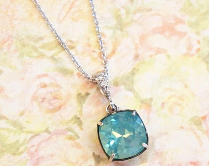 Emma - Pacific Opal Wedding Bridesmaid Gift Bridal necklace, Bridesmaid Jewelry, Seafoam dark mint Swarovski Studs Square Cushion