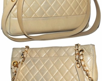 "CHANEL Paris Quilted Lambskin Leather 12.5"" Inch Tote Handbag With Gold Chain And Authenticity Card Shoulder Bag"