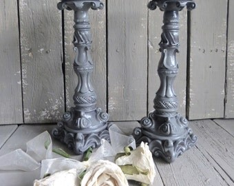 Gray Candle Holders, Ornate Candles, Gray Decor, Shabby and Chic, Candle Dining Decor, Wedding Decor, Elegant Dining, French Cottage Decor