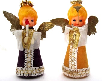 CHRISTMAS WINGED ANGELS Dark Mysterious Eyes Made in Japan Pair of Ornaments