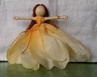 Peach Flower Fairy - Fairy Doll - Waldorf Doll - Bendy Doll - Art Doll