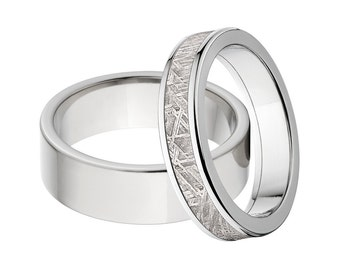 Titanium and Meteorite Matching Ring Set, His & Her's Ring Set: 6F-P,  5F-Meteorite