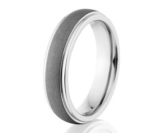 Men's Cobalt Ring, Sandblast Finish, Comfort Fit Wedding Band 5mm: COB-5HRRC-SND