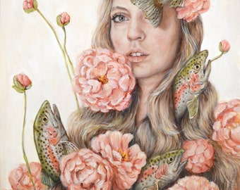 To Flop or Flower - Fine Art Painting Reproduction Print - Surreal Self Portrait Magical Realism Rainbow Trout and Peonies - 5x7 8x10 11x14