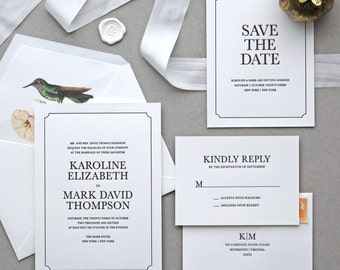 Letterpress Wedding Invitation - Madison Design - Calligraphy,Traditional, Elegant, Simple, Classic, Script, Border, Foil, monogram