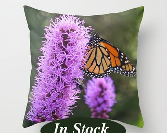 Monarch Butterfly decorative pillow cover great for the couch as unique living room decor, purple green orange and black throw pillow