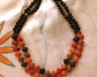 Multicolor Necklace, Double Strand Wooden Necklace, Fall Colors, Orange and Black, Ethnic Jewelry, Boho Necklace