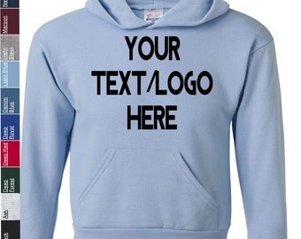 Custom Hanes - Ecosmart Youth Hooded Sweatshirt - P473 Available in All sizes and colors - Vinyl or Glitter Print