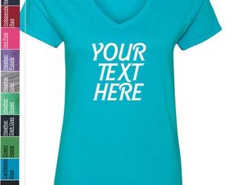 Custom Made Anvil - Women's Lightweight Ringspun V-Neck T-Shirt - 88VL Vinyl or Glitter Print Customized All Colors