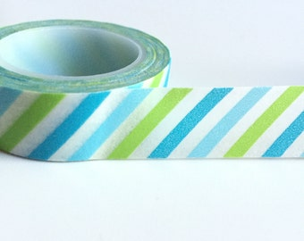 Blue and green stripe washi tape planner tape planner stickers birthday decor