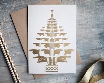 Letterpress Gold Christmas Tree Card