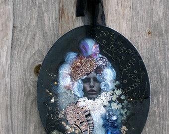 White queen - original art, collage painting, with antique  textiles, laces, ephemera