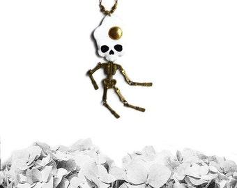 Snackhead Skeleton Necklace, skeleton necklace, skull jewelry, egg jewelry, skull necklace, vegan necklace, vegan jewelry - FRIED EGG