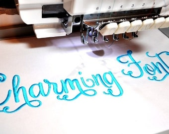 Charming Embroidery Font Swoosh Many Options
