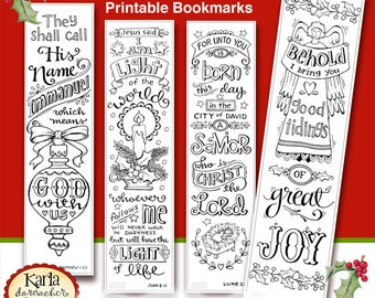 Christmas Color Your Own Bookmarks Bible Journaling Tags Tracers INSTANT DOWNLOAD Scripture Digital Printable