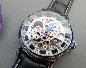 Silver Mechanical Wrist Watch with Black Leather Wristband - Blue Hands - Men - Unisex - Steampunk Watch  - Item MWA132